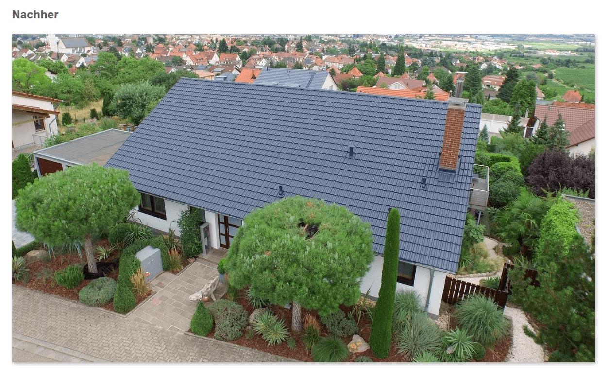 Dach Nachher in  Stockstadt (Main): Dachversiegelung, saubere Oberfläche, Ziegel in neuer Farbe, Mehr Lebensdauer